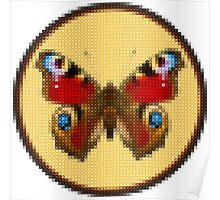 Admiral Butterfly - Cross Stitch style Poster