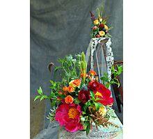 The bridal  floral arrangements on canvas bg Photographic Print