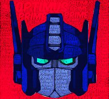 Optimus Prime Pop Art Painting with text by Colin Bradley