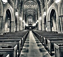 Aisle in Duke Chapel in Black and White by Kadwell