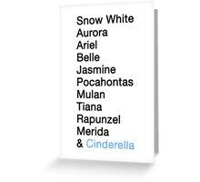 Princess Names - Cinderella Greeting Card