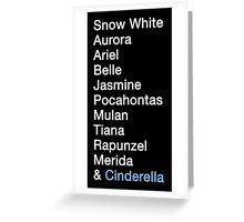 Princess Names (white text) Greeting Card
