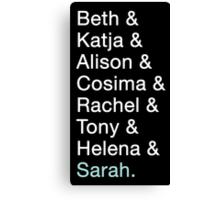 Orphan Black - Clone Names Canvas Print
