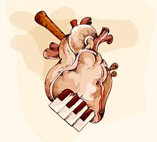 Musical heart abstract element by Maryna  Rudzko