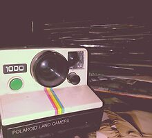 Polaroid Camera and Records by thedoverkid