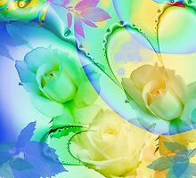 Artistic watercolor roses, leaves on an Abstract background by walstraasart