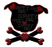 Staffy Dog and Crossbones of Love by amanda metalcat