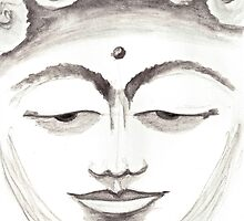 BUDDHA FACE GREY by dkatiepowellart