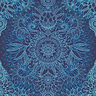Aqua, Cobalt Blue & Purple Protea Doodle Pattern by micklyn
