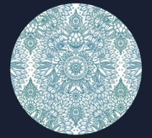 Turquoise Blue, Teal & White Protea Doodle Pattern Kids Clothes
