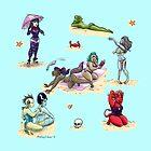Monster girl beach party  by swinku