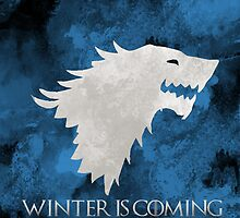 """Winter Is Coming"" - House Stark Game of Thrones Tote/Pillow by Diana G"