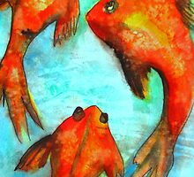 Oriental Fish Koi watercolour art by grosselart