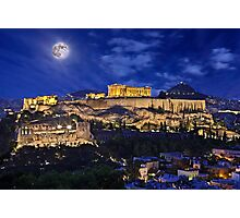 Full moon over the Acropolis Photographic Print