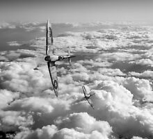 Spitfires turning in, black and white version by Gary Eason + Flight Artworks