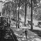 Broadway in Saratoga Springs, New York, ca 1915 (16:9 crop) Black & White version by Sanna Dullaway