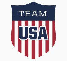 Team USA Shield Red White Blue Retro Old School Shirt Poster Sticker by 8675309