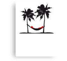Hammock beach palm trees sleep sea sun Canvas Print