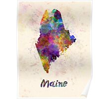Maine US state in watercolor Poster