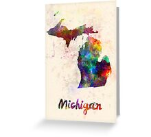 Michigan US state in watercolor Greeting Card