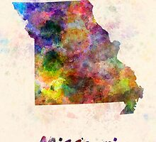 Missouri US state in watercolor by paulrommer
