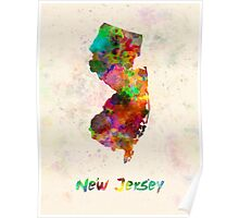 New Jersey US state in watercolor Poster