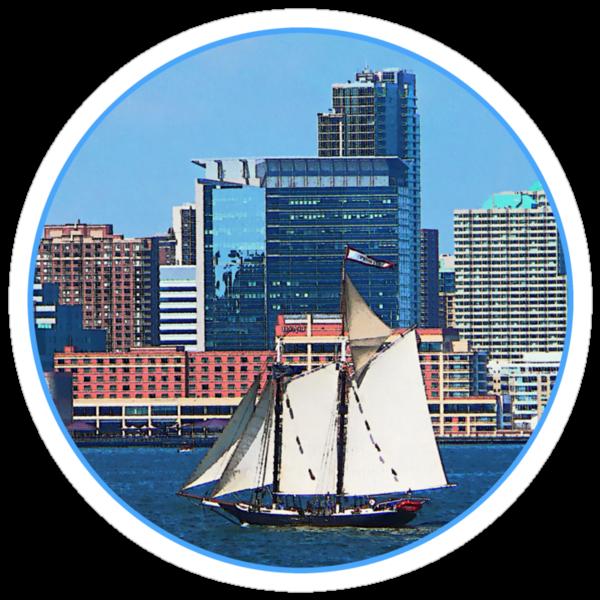 Yacht Against Manhattan Skyline by Susan Savad