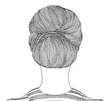 Bun Hair Line Drawing by Joanna Albright