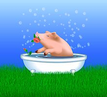 Pig Taking Bath by lydiasart