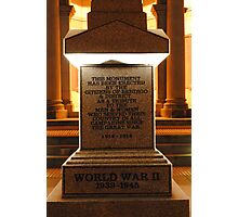 War Memorial-lest we forget Photographic Print