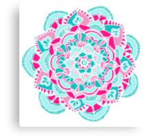 Hot Pink & Teal Mandala Flower Canvas Print
