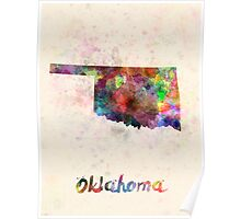 Oklahoma US state in watercolor Poster