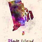 Rhode Island US state in watercolor by paulrommer