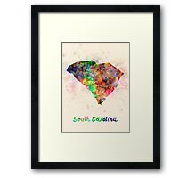 South Carolina US state in watercolor Framed Print