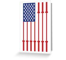 Barbell USA Flag Workout Shirt Merica Greeting Card
