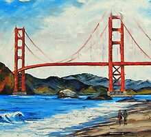 Golden Gate ll by Lisa Elley. Palette knife painting in oil by lisaelley