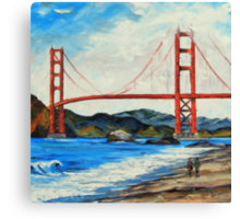 Golden Gate ll by Lisa Elley. Palette knife painting in oil Canvas Print