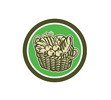 Crop Harvest Basket Circle Retro by patrimonio