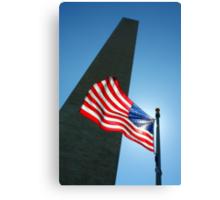 Washington Monument and Flag Canvas Print