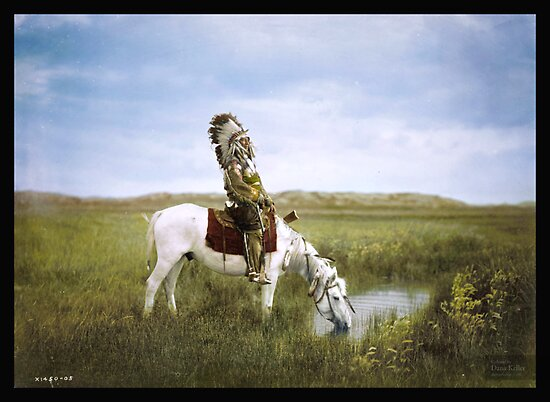 """An Oasis in the Badlands"", Red Hawk, ca. 1905 by Dana Keller"