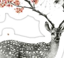 Deer and flowers Sticker