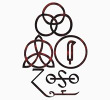 LED ZEPPELIN BAND SYMBOLS (SATANIC BLACK AND RED) by Endlessgrief