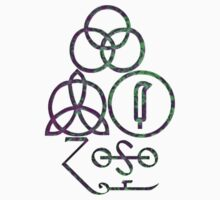 LED ZEPPELIN BAND SYMBOLS (PURPLE-GREEN TIE DYE) by Endlessgrief