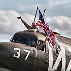 We Love Duxford - DC3 Waves To The Crowd Line - Duxford 2014 by Colin J Williams Photography