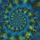 Green & Blue Spiral Fractal  by Kitty Bitty