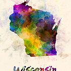 Wisconsin US state in watercolor by paulrommer