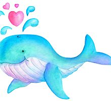 Cute whimsical whale heart spurt kids art  by Sarah Trett