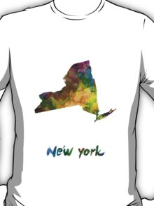 New York US state in watercolor T-Shirt