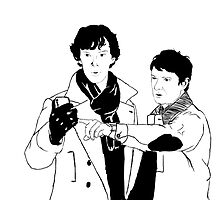 Sherlock and John cartoon by eruzavocado