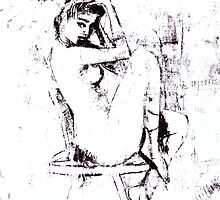 Nude on Chair, B&W  by koningenart
